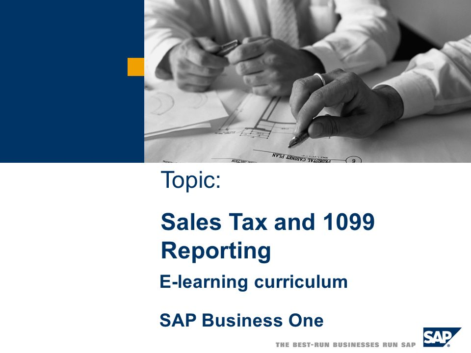 Topic: Sales Tax and 1099 Reporting