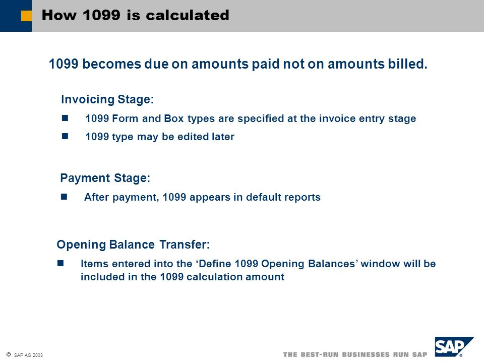 How 1099 is calculated 1099 becomes due on amounts paid not on amounts billed. Invoicing Stage: