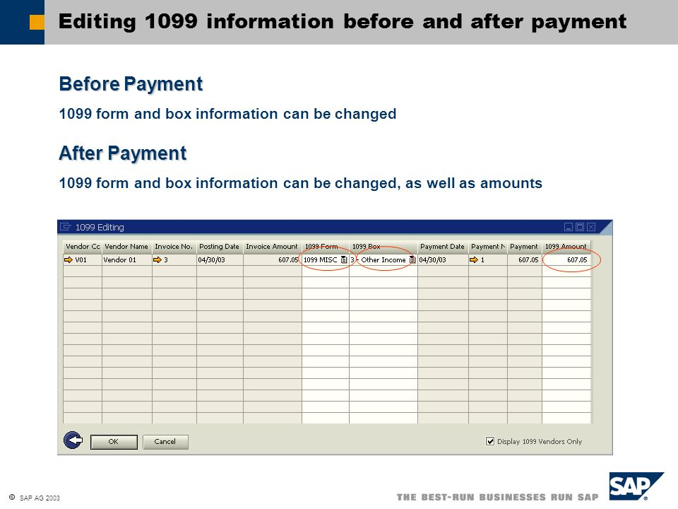 Editing 1099 information before and after payment