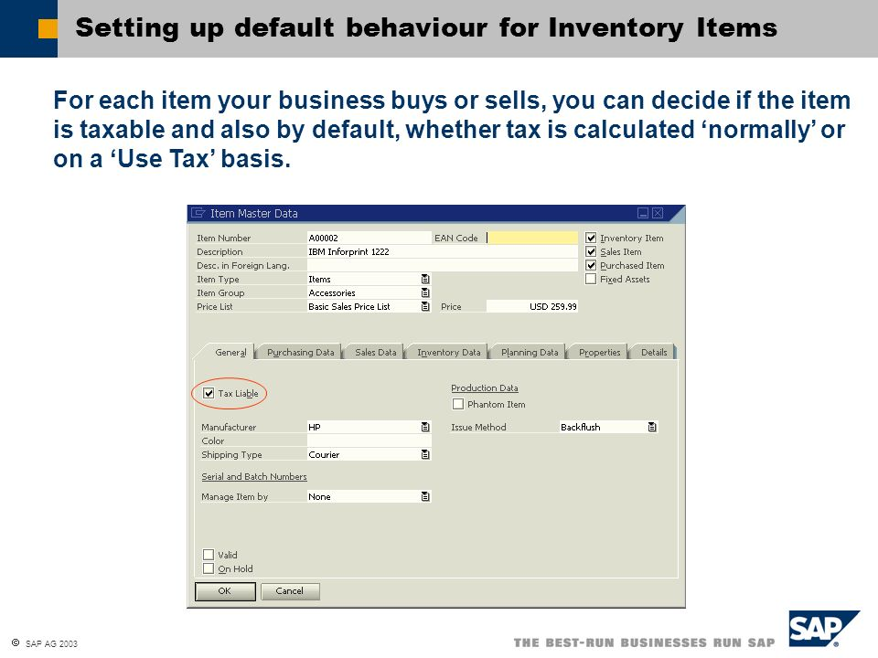 Setting up default behaviour for Inventory Items