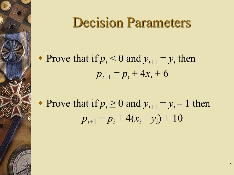 Decision Parameters Prove that if pi < 0 and yi+1 = yi then