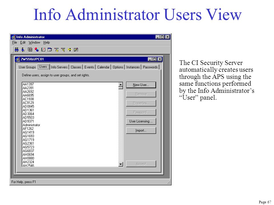 Info Administrator Users View