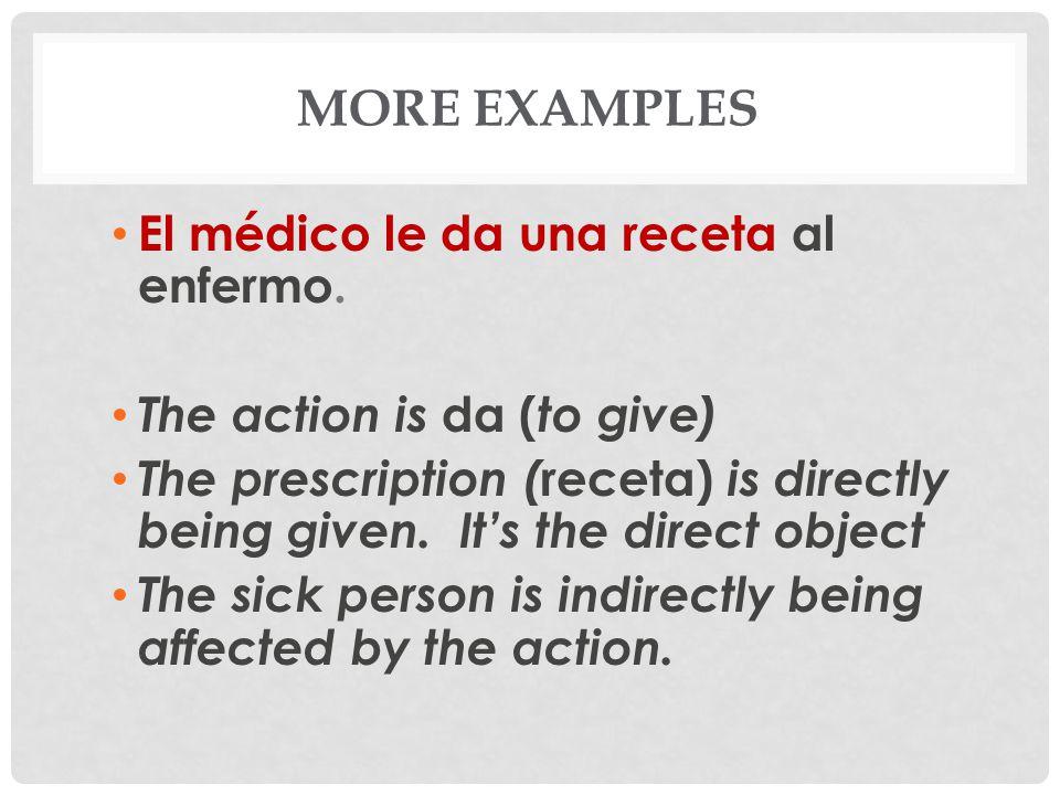 More examples El médico le da una receta al enfermo.