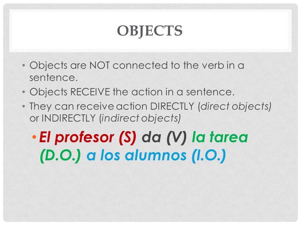 El profesor (S) da (V) la tarea (D.O.) a los alumnos (I.O.)
