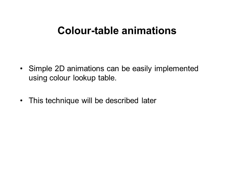 Colour-table animations