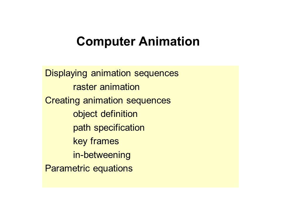 Computer Animation Displaying animation sequences raster animation