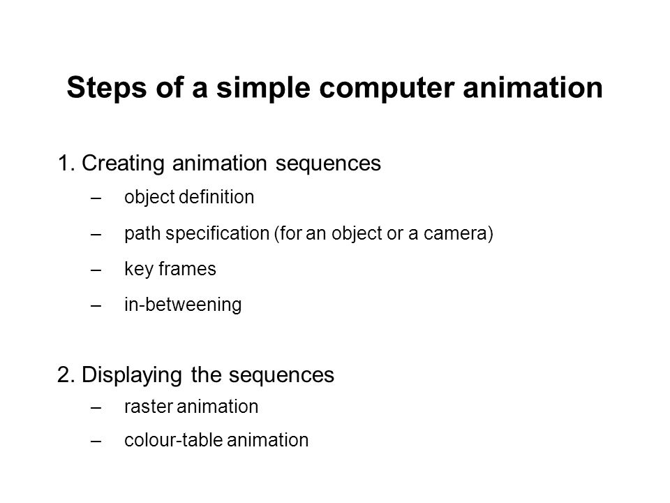Steps of a simple computer animation