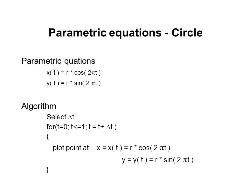 Parametric equations - Circle