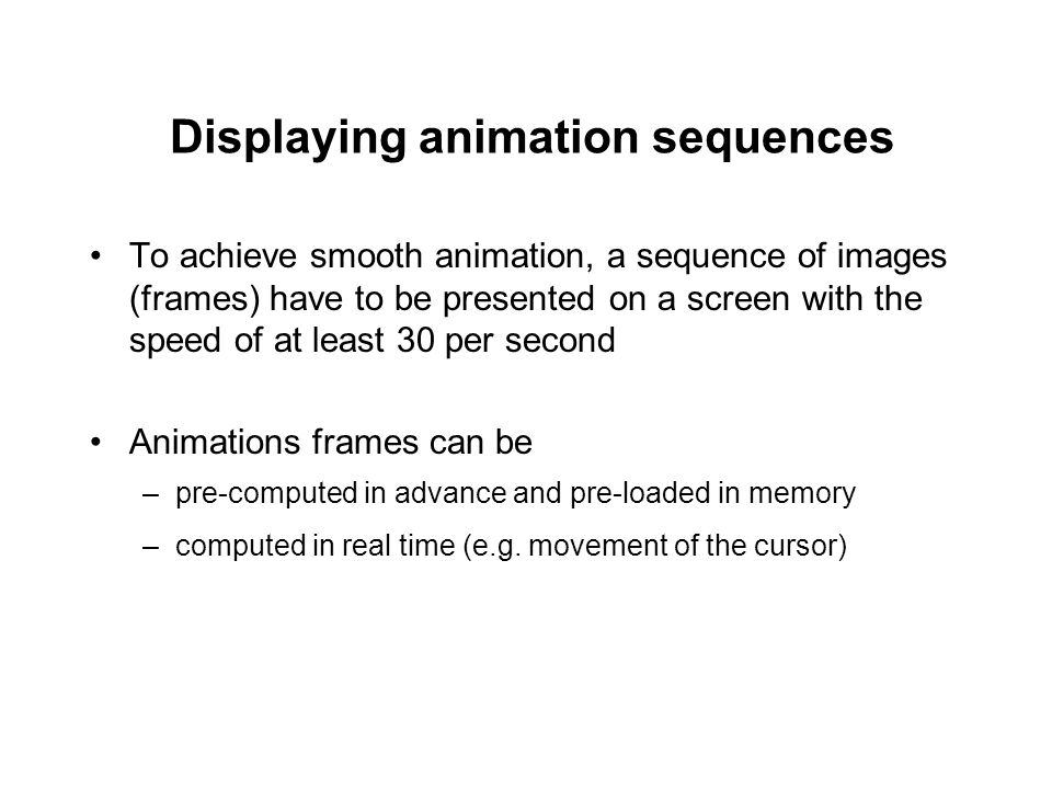 Displaying animation sequences