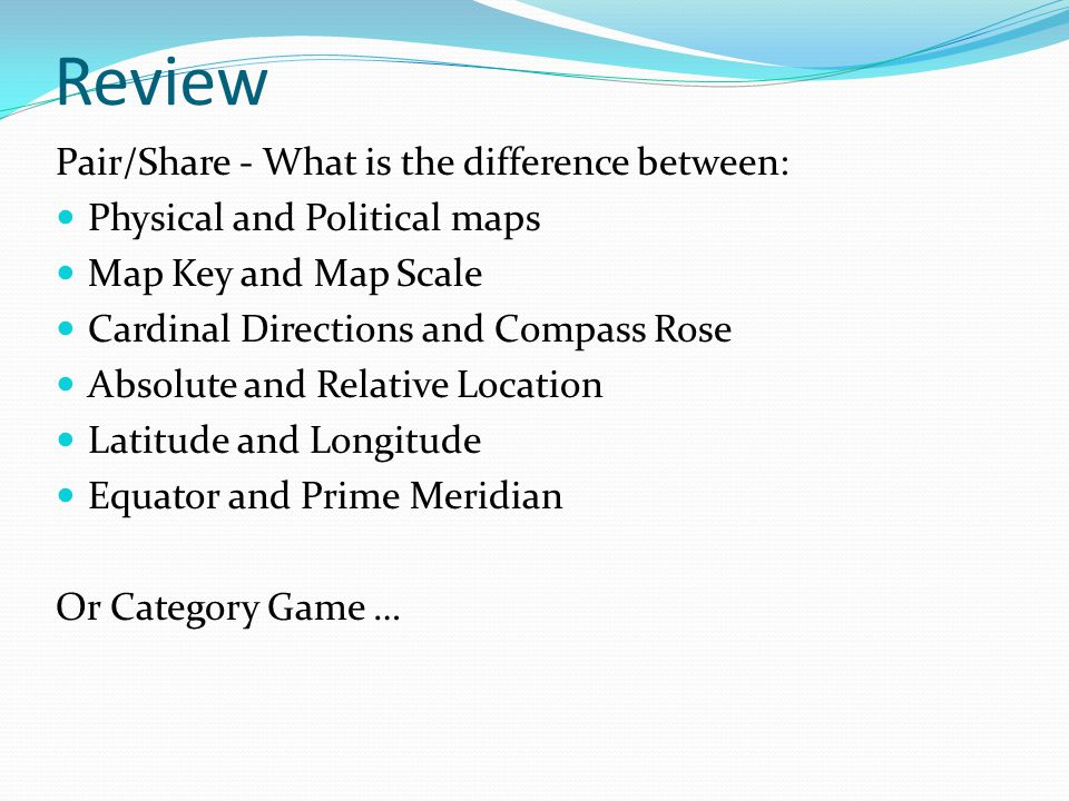 Review Pair/Share - What is the difference between: