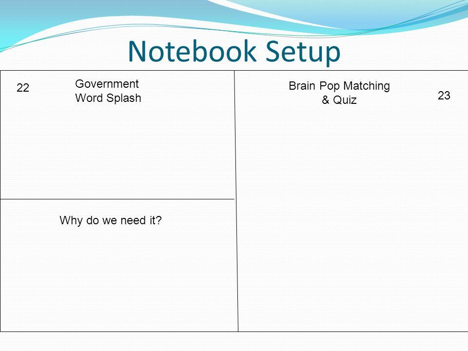 Notebook Setup Government Brain Pop Matching 22 Word Splash & Quiz 23