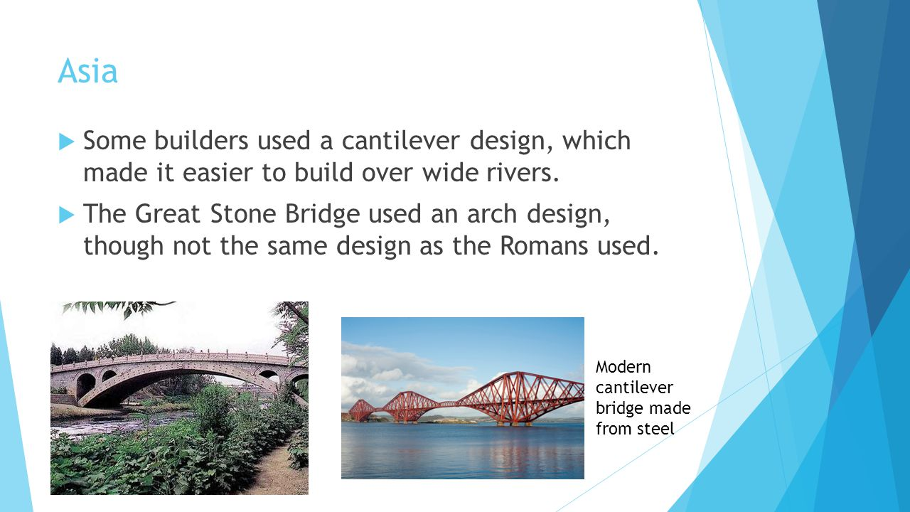 Asia Some builders used a cantilever design, which made it easier to build over wide rivers.