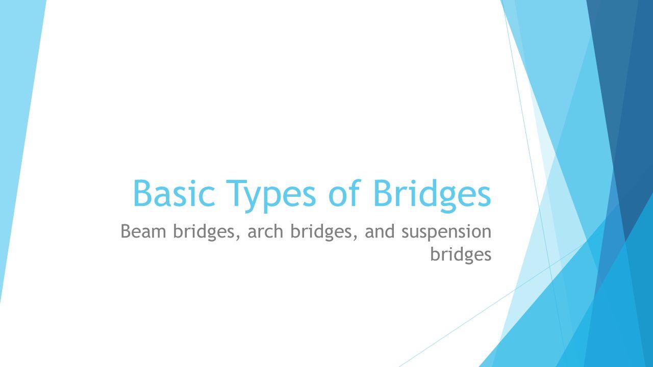 Beam bridges, arch bridges, and suspension bridges