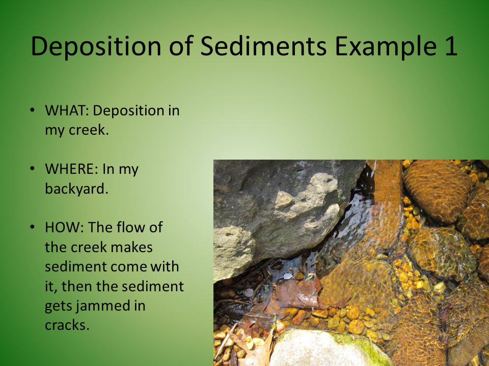 Deposition of Sediments Example 1