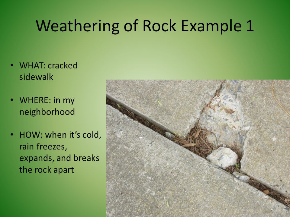 Weathering of Rock Example 1