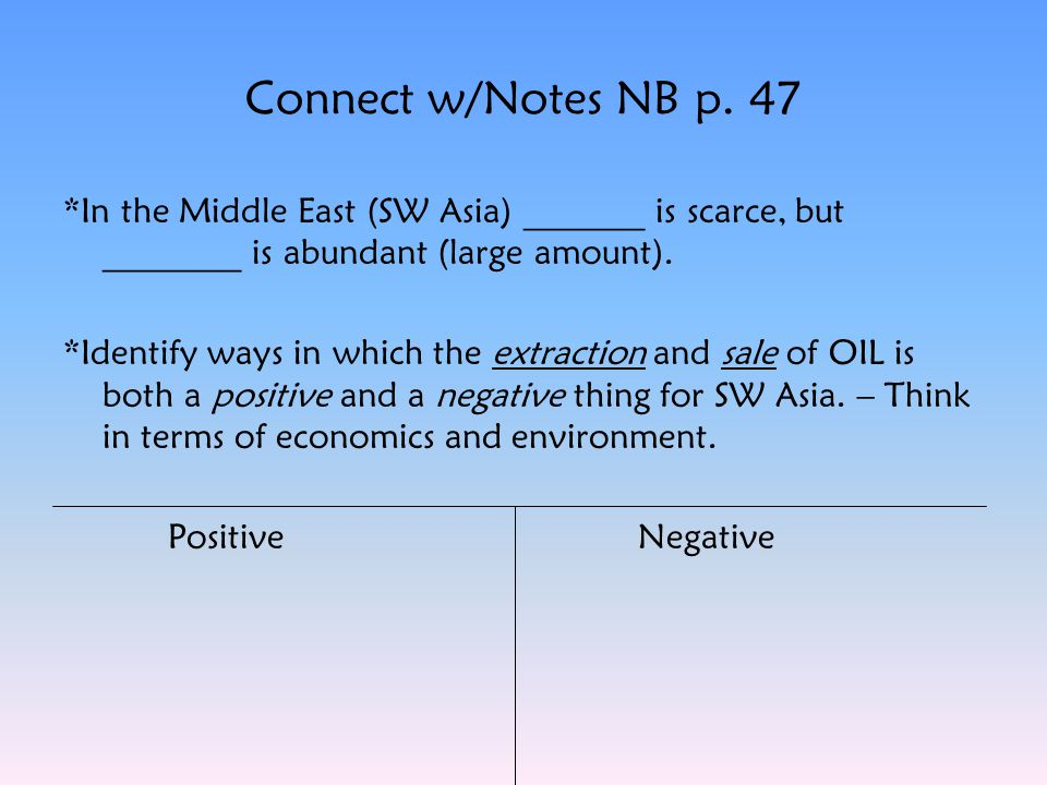 Connect w/Notes NB p. 47 *In the Middle East (SW Asia) _______ is scarce, but ________ is abundant (large amount).