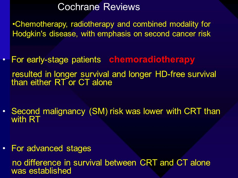 Cochrane Reviews For early-stage patients chemoradiotherapy