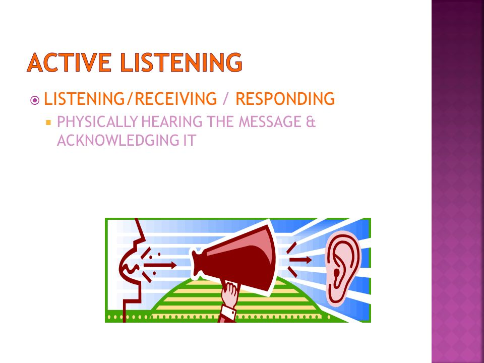 ACTIVE LISTENING LISTENING/RECEIVING / RESPONDING