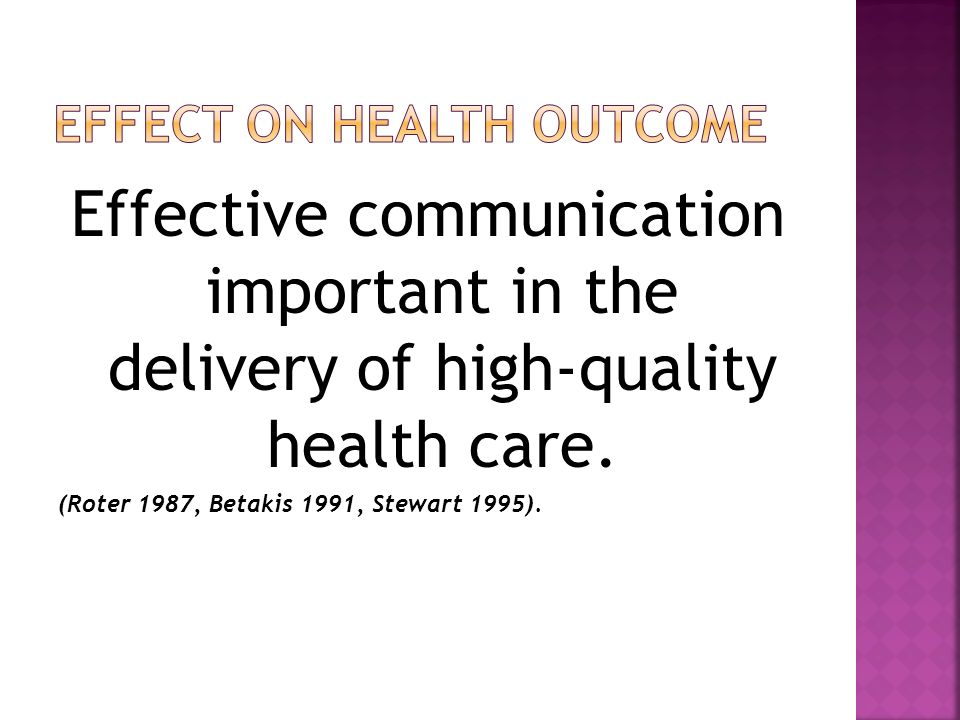 Effect on Health Outcome