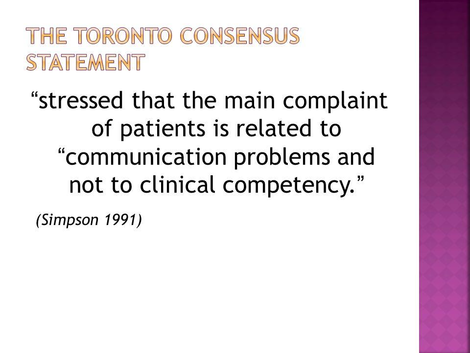 The Toronto consensus statement