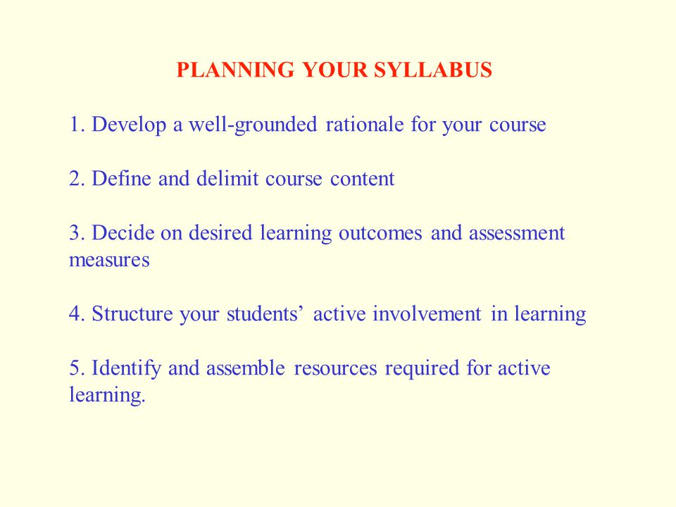 PLANNING YOUR SYLLABUS 1