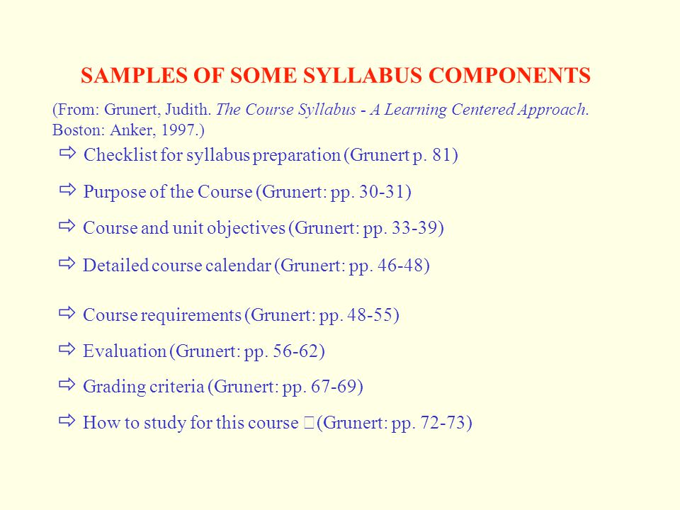 SAMPLES OF SOME SYLLABUS COMPONENTS (From: Grunert, Judith