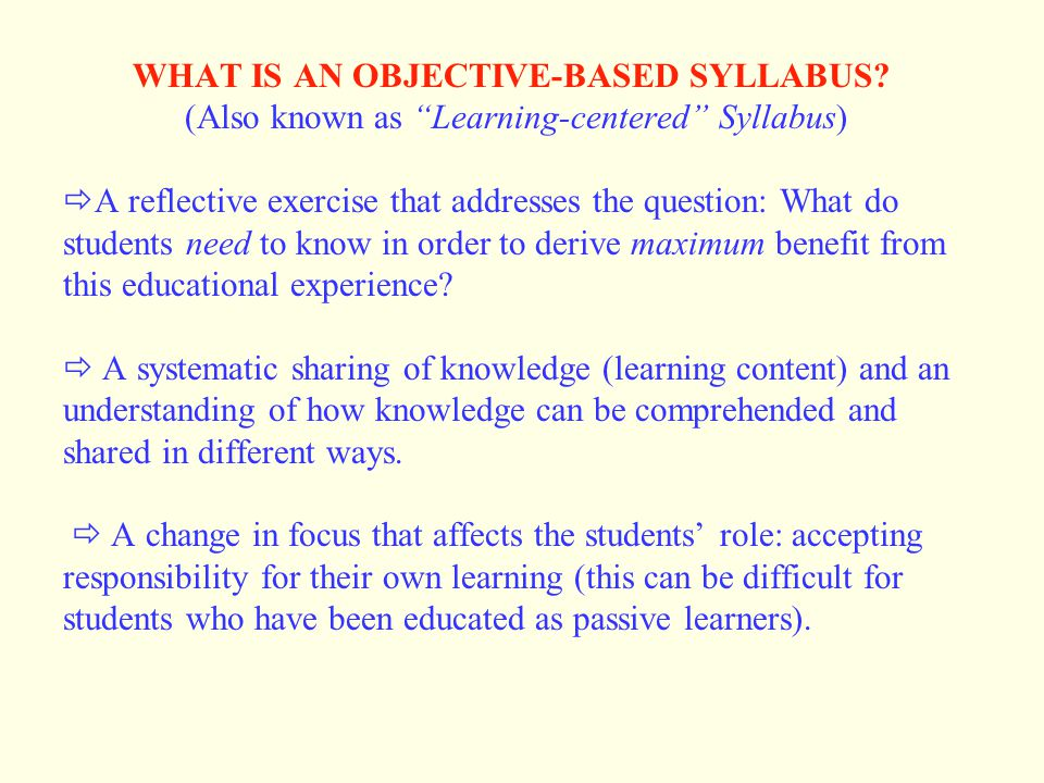 WHAT IS AN OBJECTIVE-BASED SYLLABUS