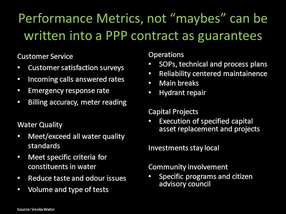 Performance Metrics, not maybes can be written into a PPP contract as guarantees
