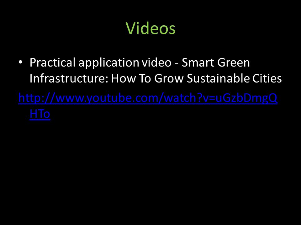 Videos Practical application video - Smart Green Infrastructure: How To Grow Sustainable Cities.