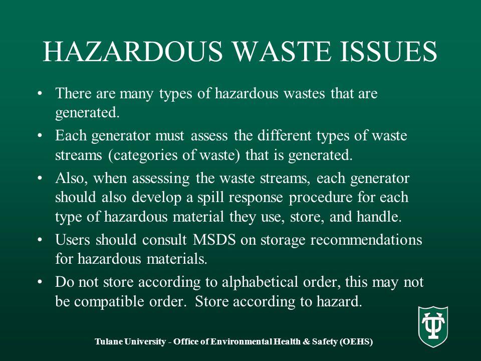 HAZARDOUS WASTE ISSUES