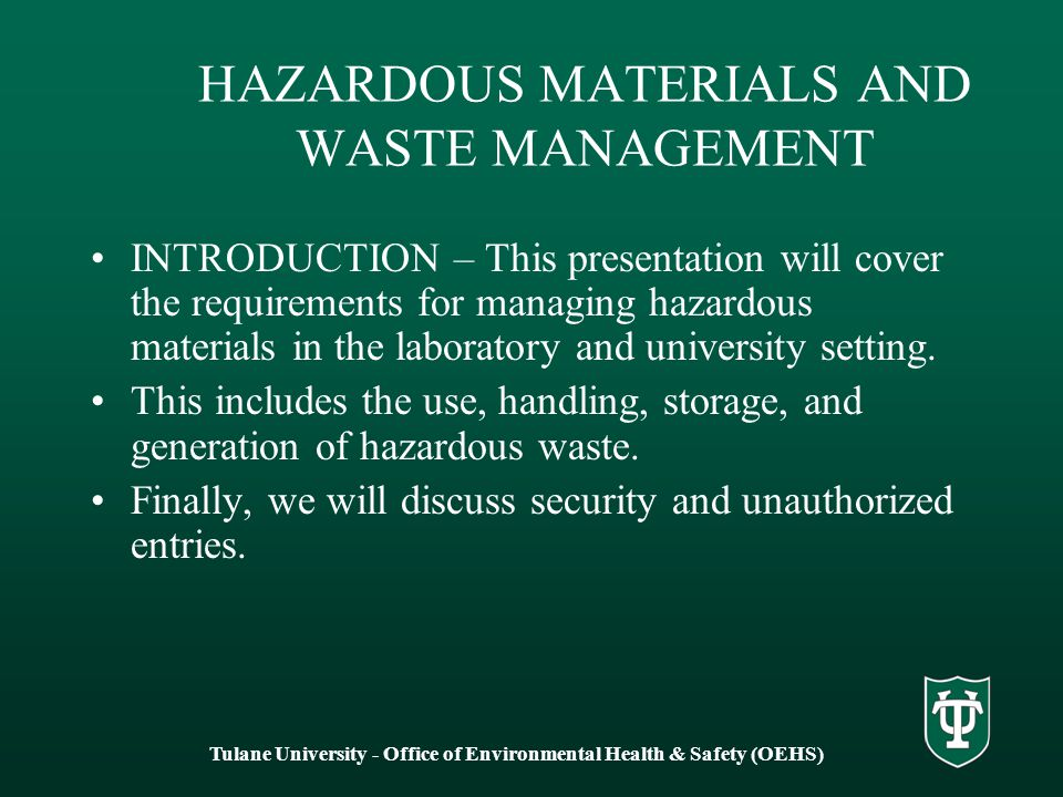 with reference to waste management discuss Regulations incorporate by reference the federal hazardous waste  hazardous waste management  discuss emergency preparedness and response.