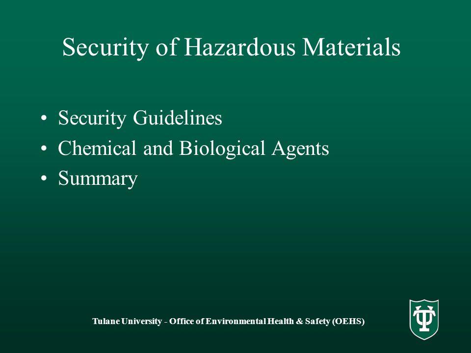 Security of Hazardous Materials