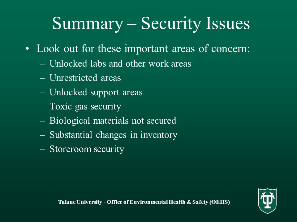 Summary – Security Issues
