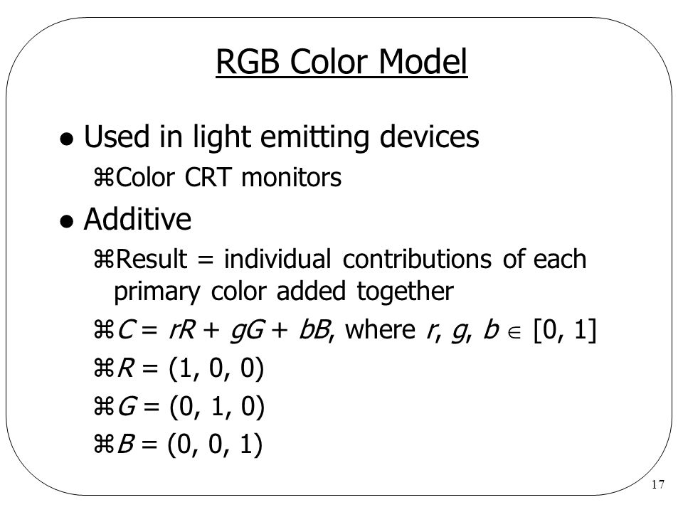 RGB Color Model Used in light emitting devices Additive