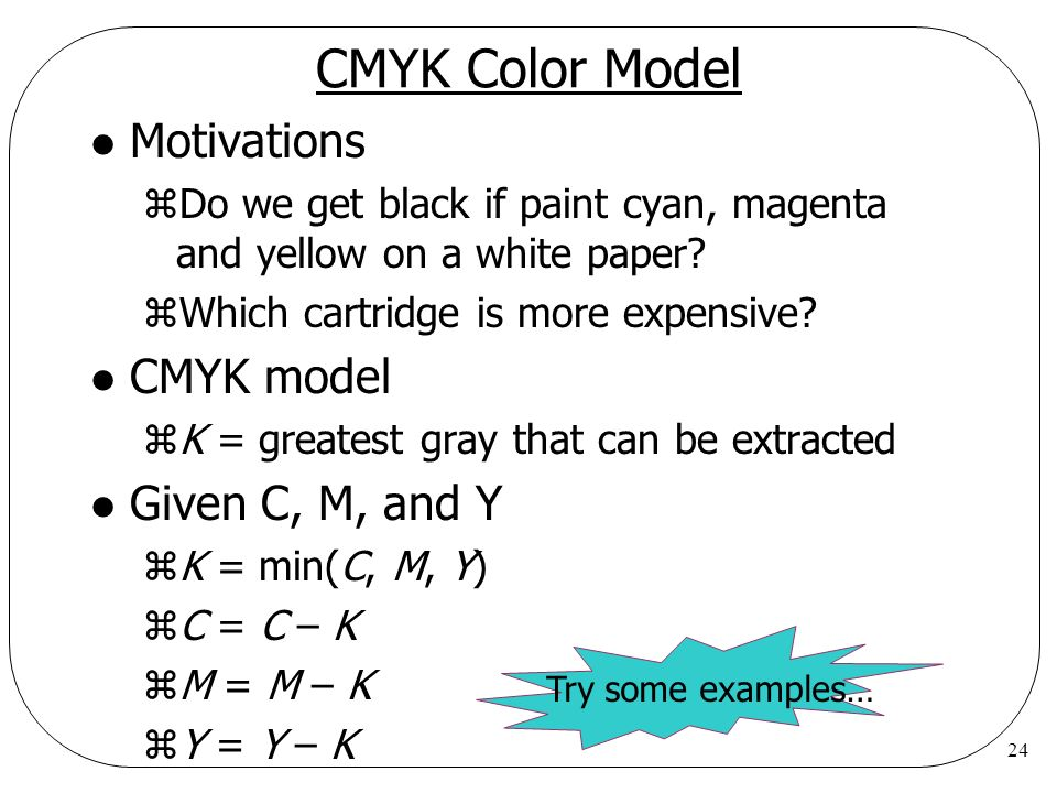 CMYK Color Model Motivations CMYK model Given C, M, and Y