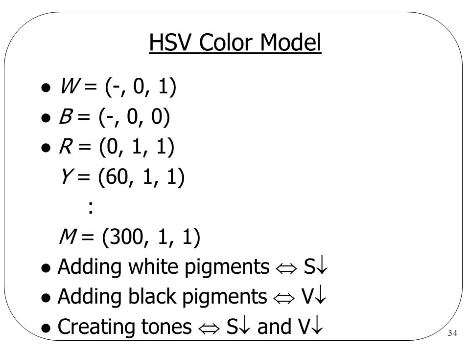 HSV Color Model W = (-, 0, 1) B = (-, 0, 0) R = (0, 1, 1)