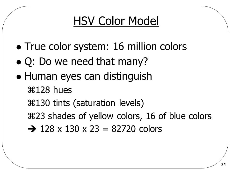 HSV Color Model True color system: 16 million colors