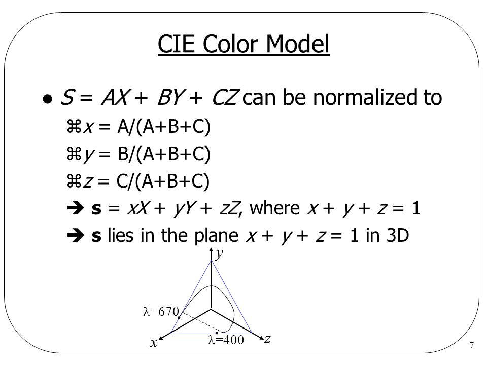 CIE Color Model S = AX + BY + CZ can be normalized to x = A/(A+B+C)