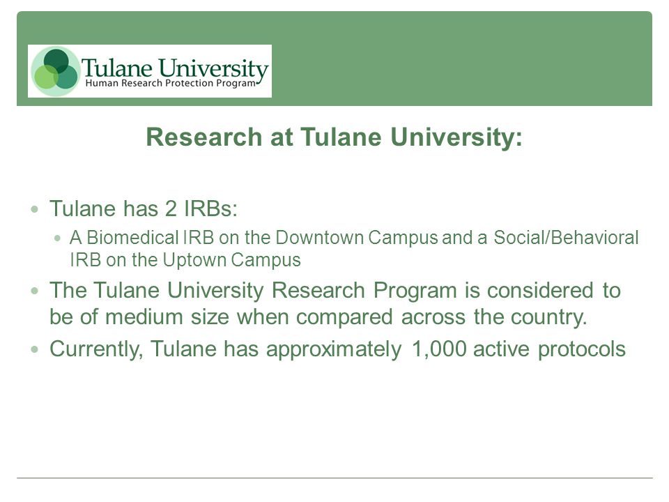 Research at Tulane University: