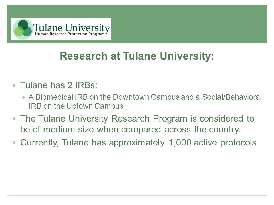 Research at Tulane University: