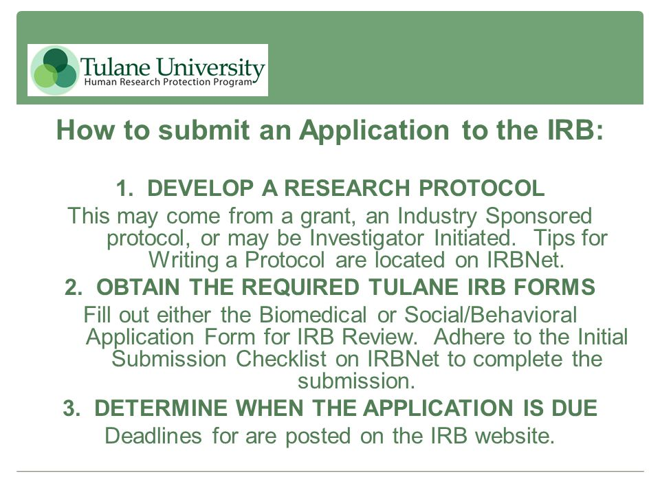 How to submit an Application to the IRB: