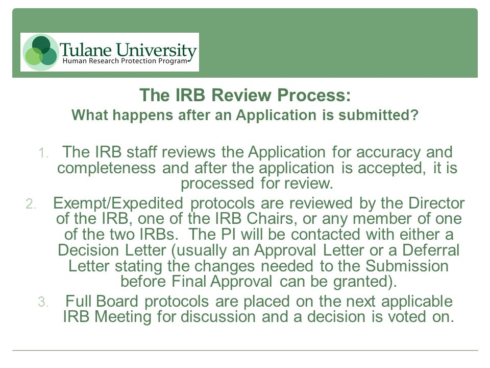 The IRB Review Process: