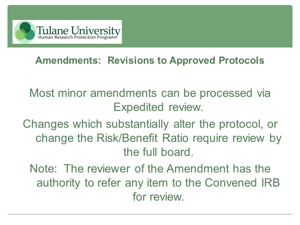 Amendments: Revisions to Approved Protocols