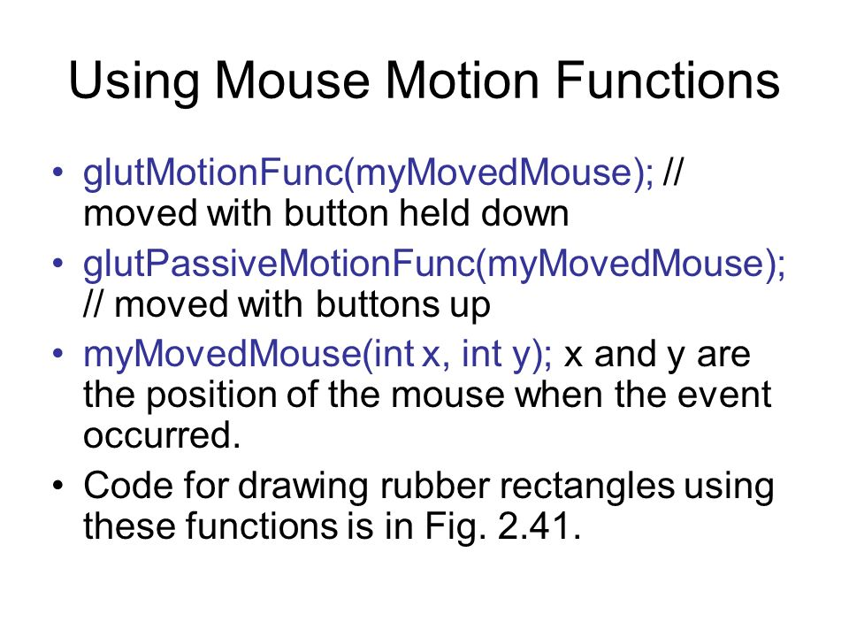 Using Mouse Motion Functions