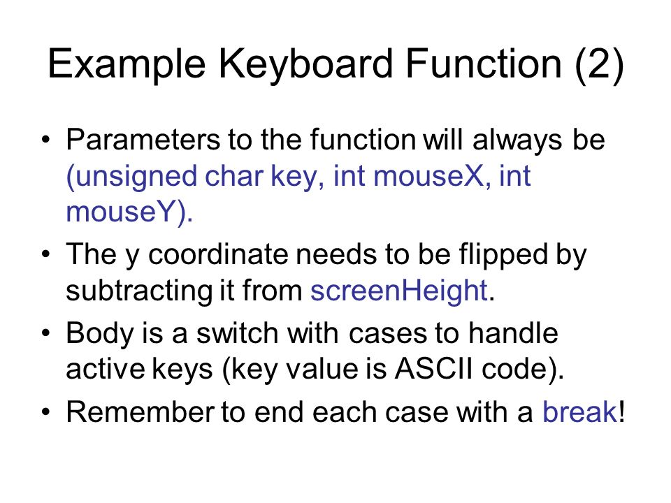 Example Keyboard Function (2)