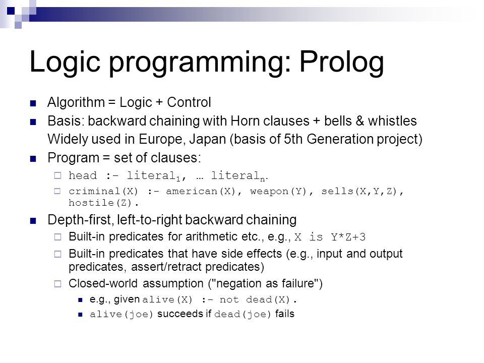 Logic programming: Prolog