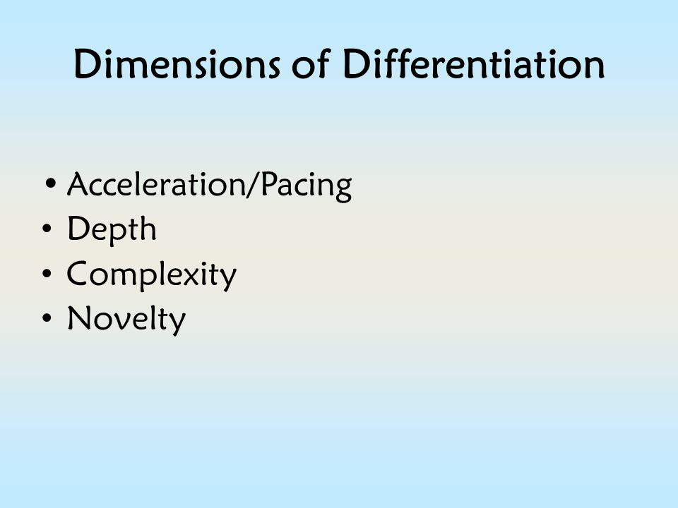 Dimensions of Differentiation