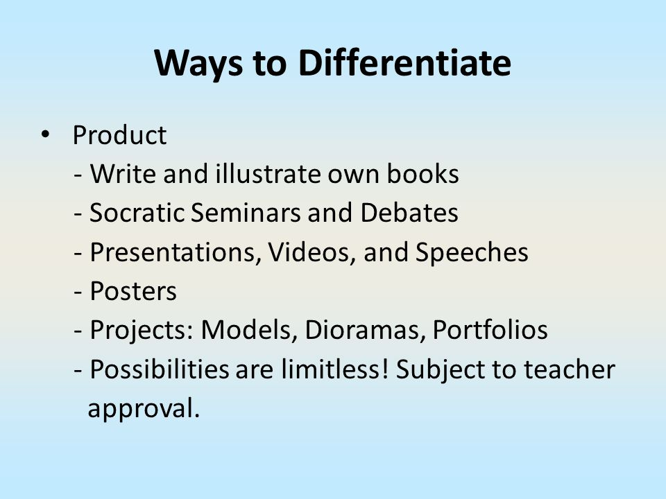 Ways to Differentiate Product - Write and illustrate own books