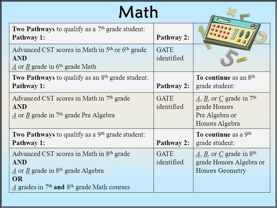 Math Two Pathways to qualify as a 7th grade student: Pathway 1: