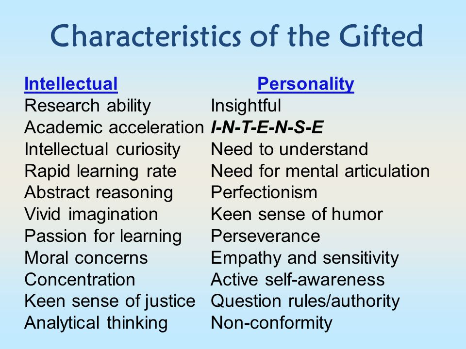 Characteristics of the Gifted